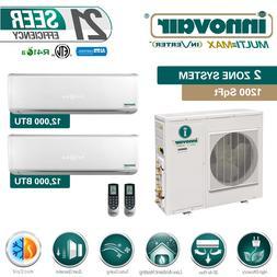 24000 BTU Dual Zone Ductless Mini Split Air Conditioner Heat