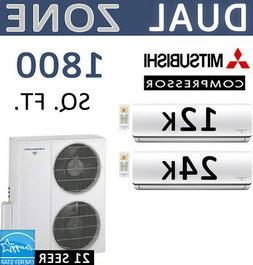 36,000 BTU 2 Zone Ductless Mini Split Air Conditioner Heat P