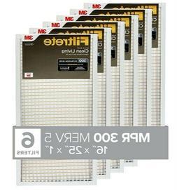 6 Pack Filtrete AC Furnace Air Filter, MPR 300, Clean Basic