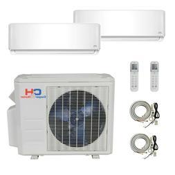 Dual 2 Zone Ductless Mini Split Air Conditioner Heat Pump 12