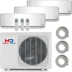 Tri 3 Zone Ductless Mini Split Air Conditioner Heat Pump 900