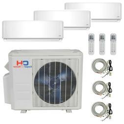 Tri 3 Zone Ductless Mini Split Air Conditioner Heat Pump 120