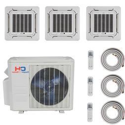 Tri 3 Zone Mini Split Ductless Air Conditioner Heat Pump 120