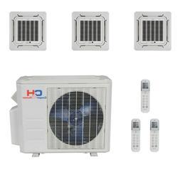 Tri 3 Zone Mini Split Ductless Air Conditioner Heat Pump Mul
